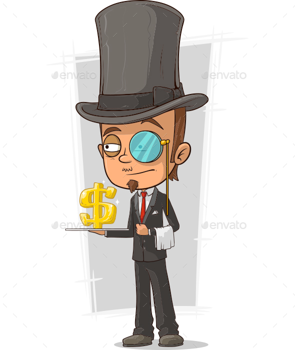 Cartoon Stylish Intelligent with Monocle - People Characters