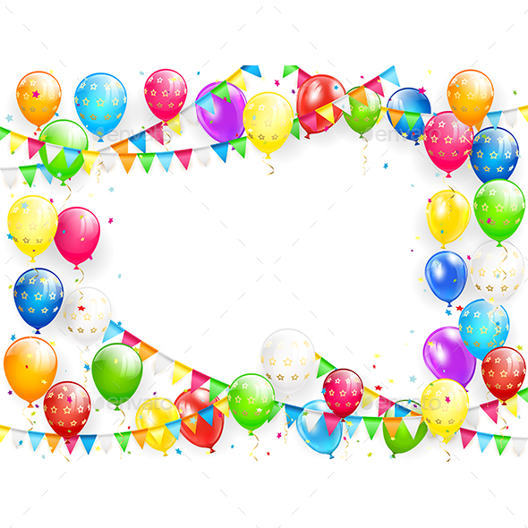 Birthday Balloons and Multicolored Confetti on White Background - Birthdays Seasons/Holidays