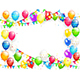Birthday Balloons and Multicolored Confetti on White Background