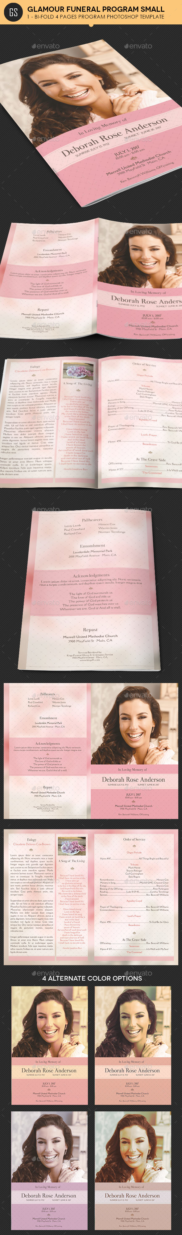 Glamour Funeral Program Small Template - Informational Brochures