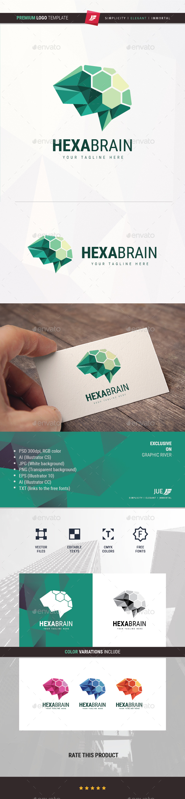 GraphicRiver Hexa Brain Logo 20250435