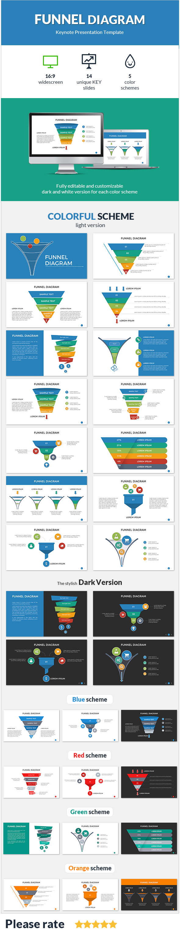 Funnel Diagram Keynote Presentation Template - Keynote Templates Presentation Templates