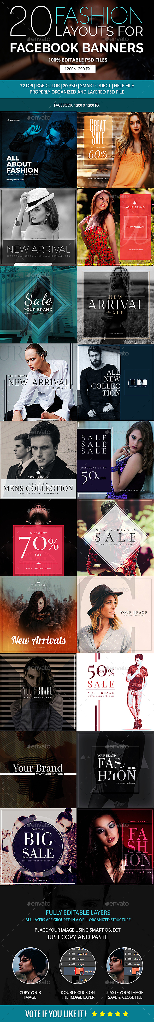 20 - Fashion Facebook Promotion Banners - Social Media Web Elements