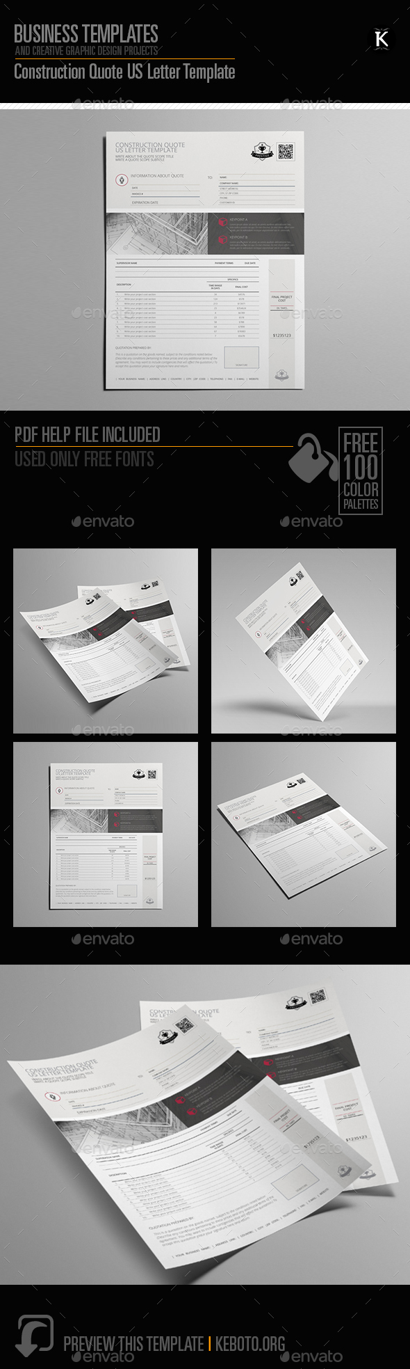 Construction Quote US Letter Template - Miscellaneous Print Templates