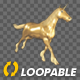 Golden Unicorn  - Gallop Run - Angle View - VideoHive Item for Sale