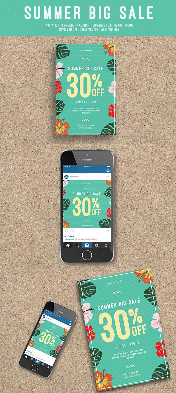 Summer Sale Flyer + Instagram Post - Commerce Flyers