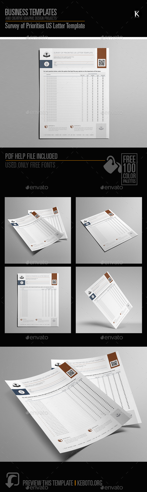 Survey of Priorities US Letter Template - Miscellaneous Print Templates