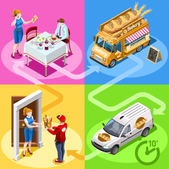 Food Truck Bakery Bread Home Delivery Vector Isometric People - Food Objects