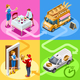Food Truck Bakery Bread Home Delivery Vector Isometric People - GraphicRiver Item for Sale