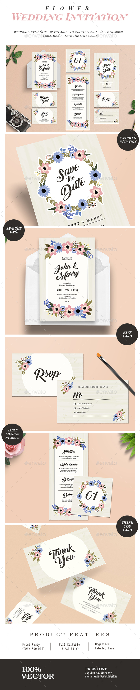 Flower Wedding Invitation Suite