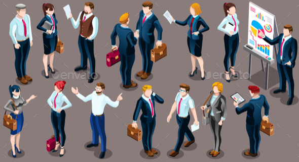 Isometric People Business Suit 3D Icon Set Vector Illustration - People Characters