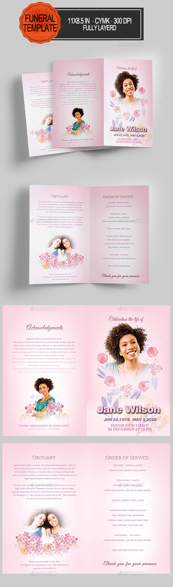 Graphicriver Funeral Program Brochure Template 1407732
