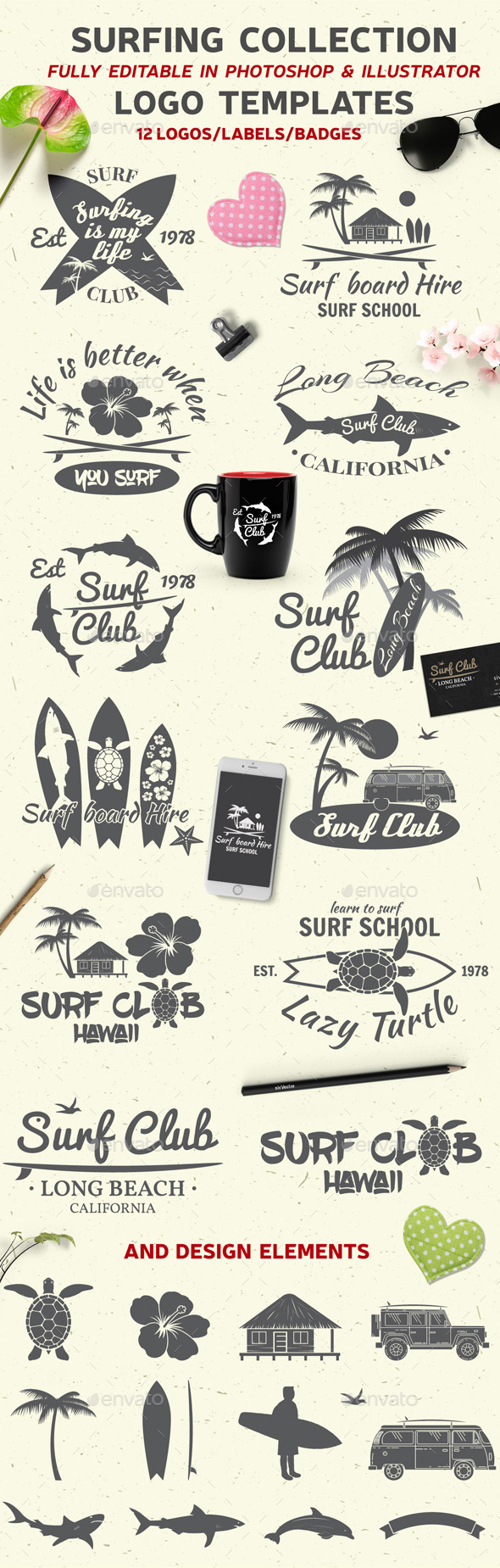 Surfing Collection - Badges & Stickers Web Elements