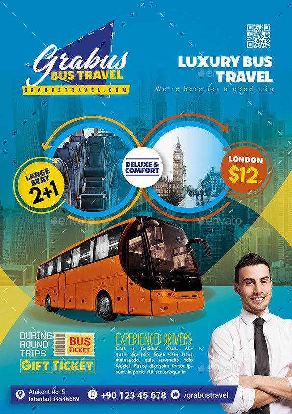 bus travel flyer by bannerthemeprint