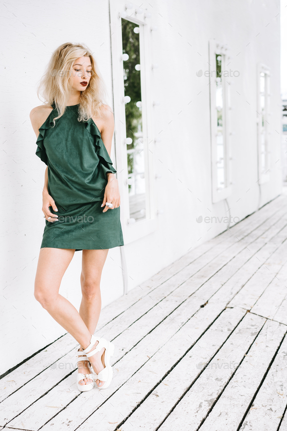 Girl in a green dress - Stock Photo - Images