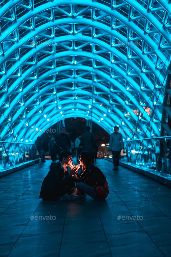 Loving couple on the bridge of Peace - Stock Photo - Images