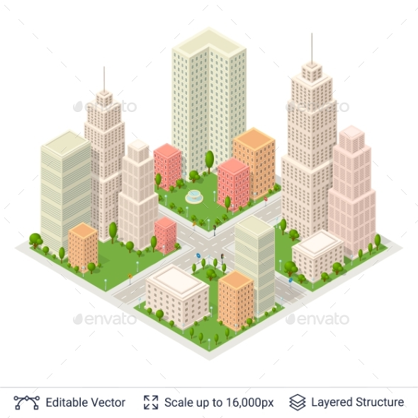 Isometric City Popular Structures - Miscellaneous Vectors