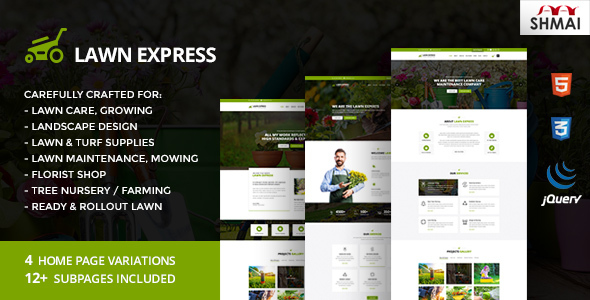 LawnExpress – Lawn Mowing, Gardening, Landscaping, Farming and Florist HTML5 Responsive Template (Marketing and advertising)