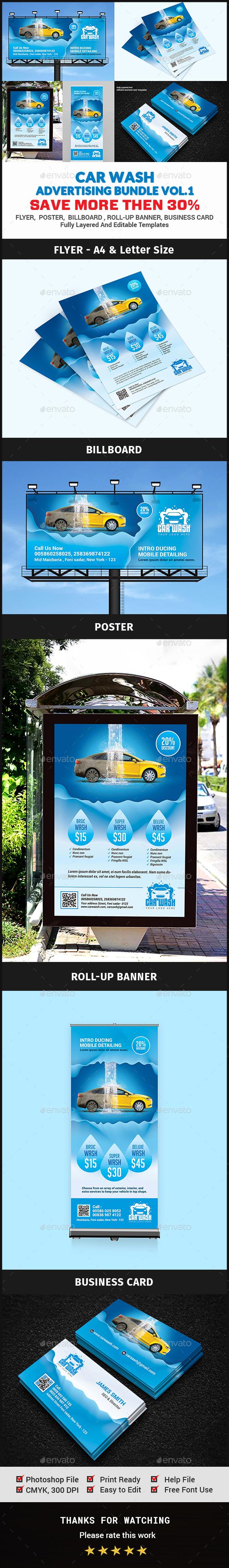 Car Wash Advertising Bundle Vol.1 - Signage Print Templates