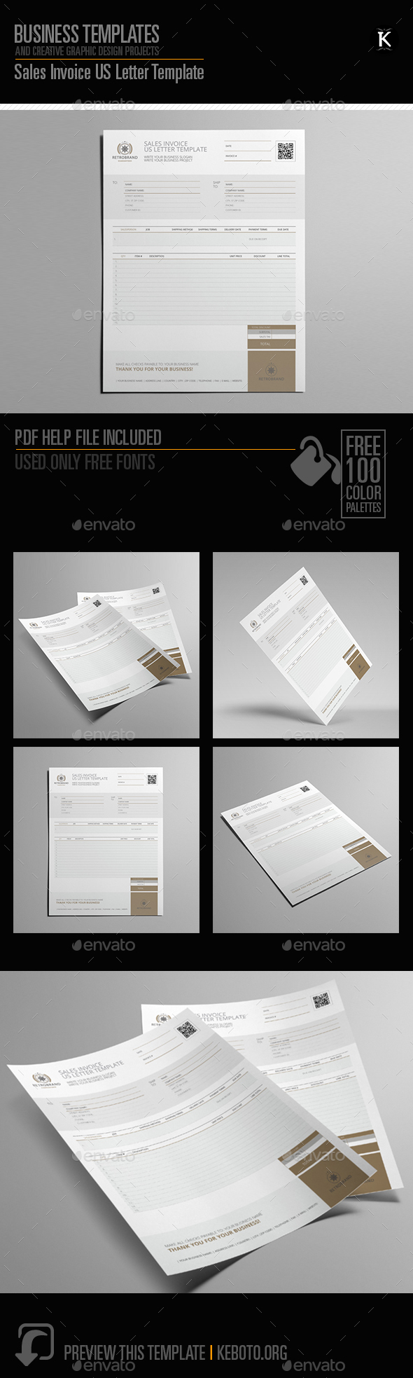 Sales Invoice US Letter Template - Proposals & Invoices Stationery