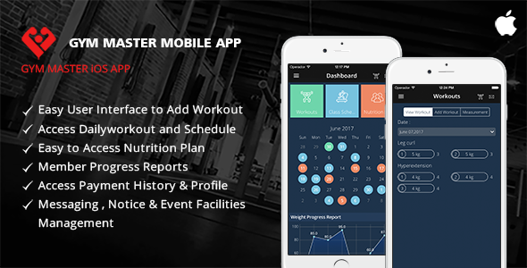 Gym Master Mobile App for iphone - CodeCanyon Item for Sale