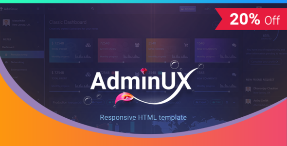 AdminUX Dashboard | Bootstrap 4 Responsive HTML template - Admin Templates Site Templates