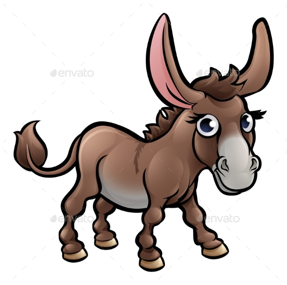 GraphicRiver Donkey Farm Animals Cartoon Character 20254165