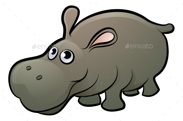 GraphicRiver Hippo Safari Animals Cartoon Character 20254168