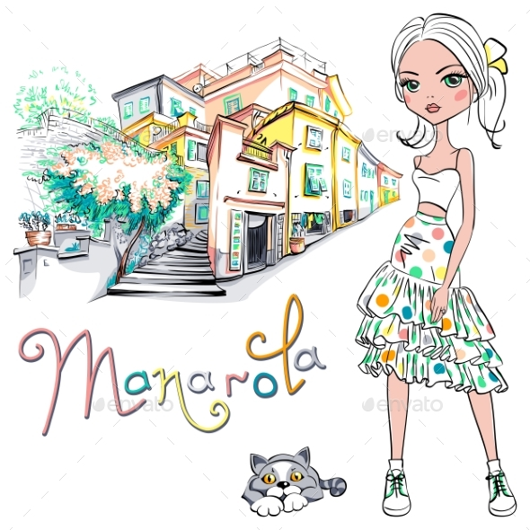 GraphicRiver Fashion Girl in Manarola Italia 20254184
