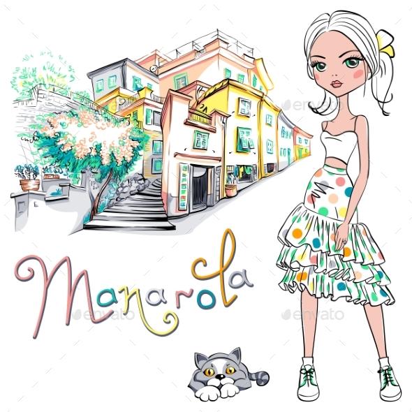Fashion Girl in Manarola Italia - People Characters