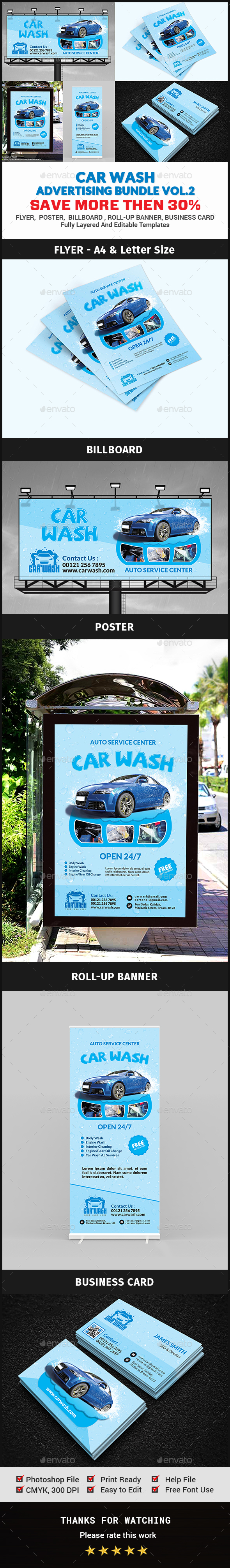 Car Wash Advertising Bundle Vol.2 - Signage Print Templates
