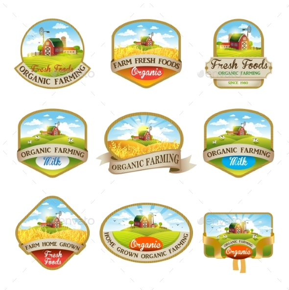Labels with the Image of a Farm - Flowers & Plants Nature