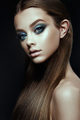 Fashion model Woman with fantasy make up. Long blowing brown hair. - PhotoDune Item for Sale