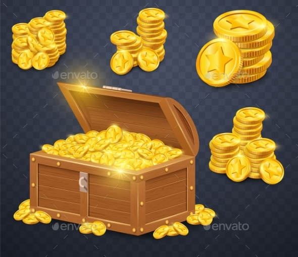 Old Wooden Chest with Gold Coins. - Man-made Objects Objects