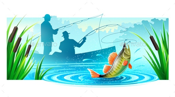 Fishermen Fishing in Boat Catched Big Fish - Vectors