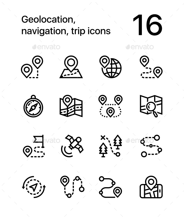 Geolocation, Navigation, Trip Icons for Web and Mobile Design Pack 1 - Icons