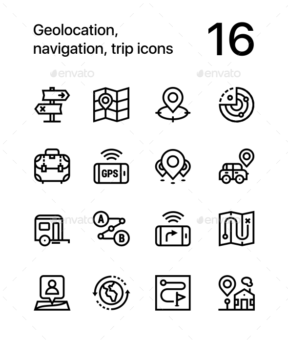 Geolocation, Navigation, Trip Icons for Web and Mobile Design Pack 2 - Icons