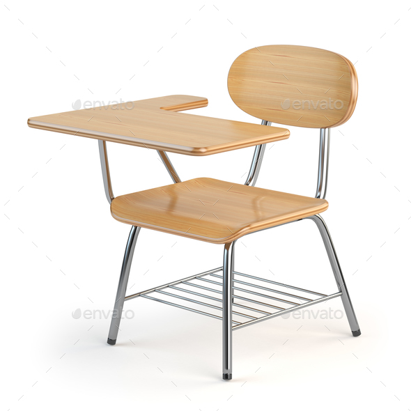 Terrific Wooden School Desk And Chair Isolated On White Dailytribune Chair Design For Home Dailytribuneorg