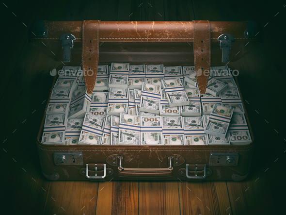 Vintage suitcase full of money. Business emigration concept back - Stock Photo - Images