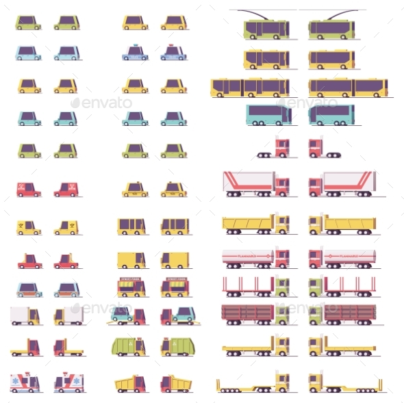 Vector Isometric Low Poly Transport Set - Man-made Objects Objects
