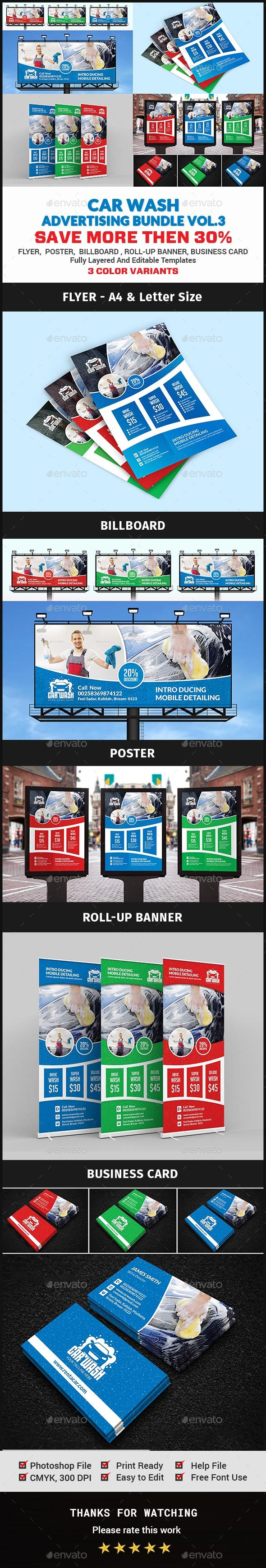 Car Wash Advertising Bundle Vol.3 - Signage Print Templates