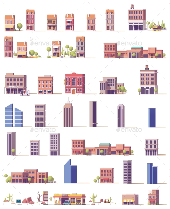 Vector Low Poly Buildings Set - Buildings Objects