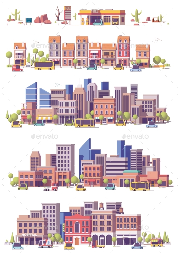 Vector Low Poly 2d City Scenes - Buildings Objects