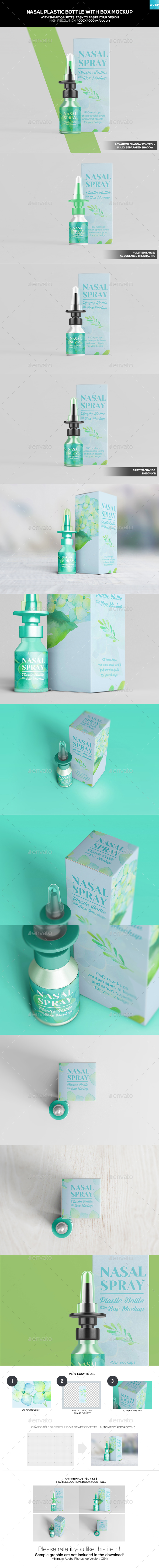 Nasal Plastic Bottle With Box Mockup - Miscellaneous Packaging