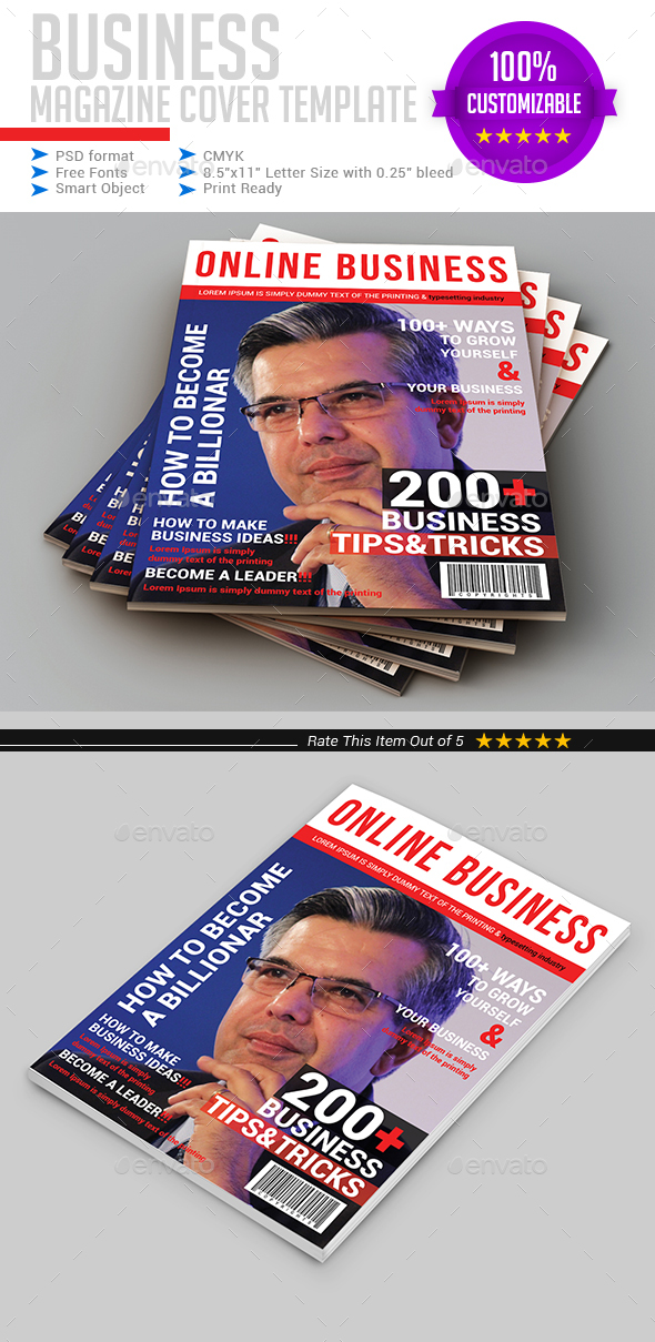 Business Magazine Cover Template - Magazines Print Templates