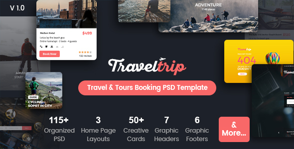 TravelTrip - Travel, Tour, Flight & Hotel Booking PSD Template