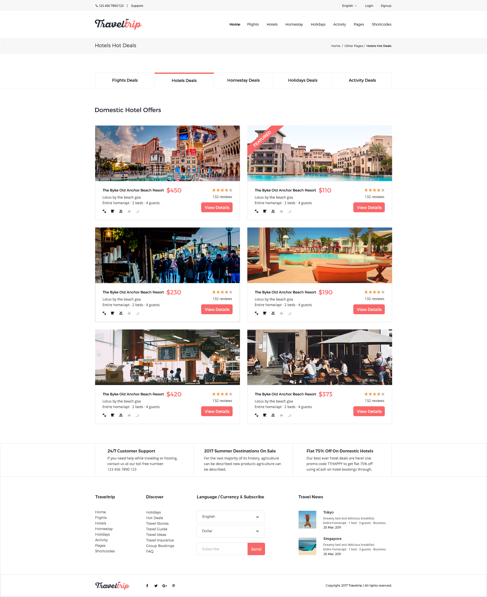 Traveltrip Travel Tour Flight Hotel Booking Psd Template By
