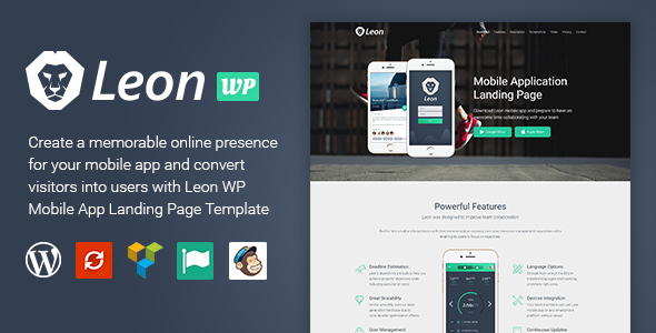 Leon - WordPress Mobile App Landing Page