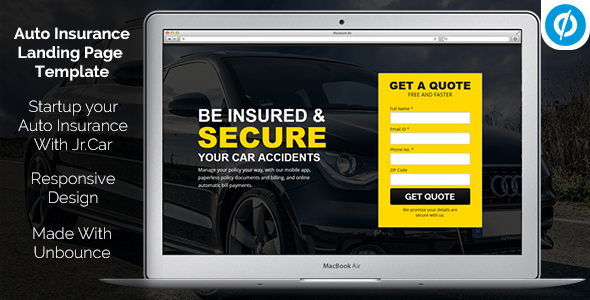 Jr. Auto Insurance Landing Page - Responsive Unbounce Template by Muse-Master