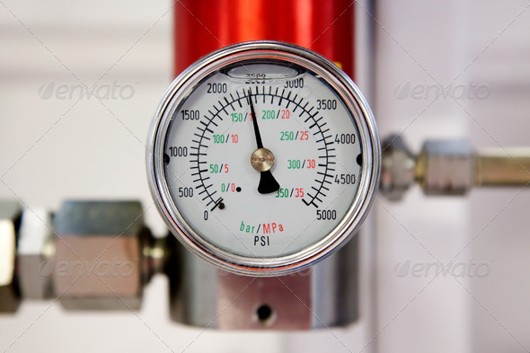 Industrial pressure meter - Stock Photo - Images